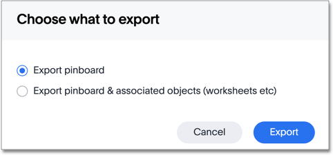 Choose what to export